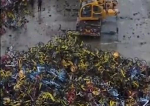 """一段视频 带你看镜头中的共享单车""""坟场"""""""