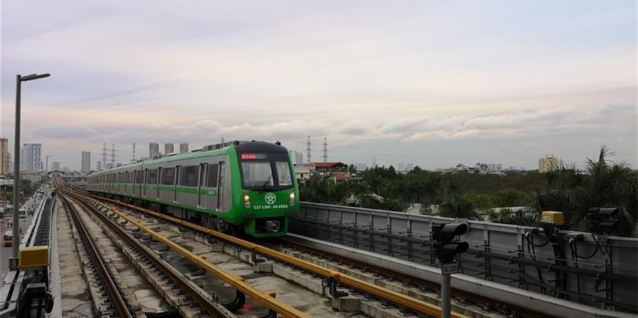 中企承建越南首条城市轻轨试运行成功