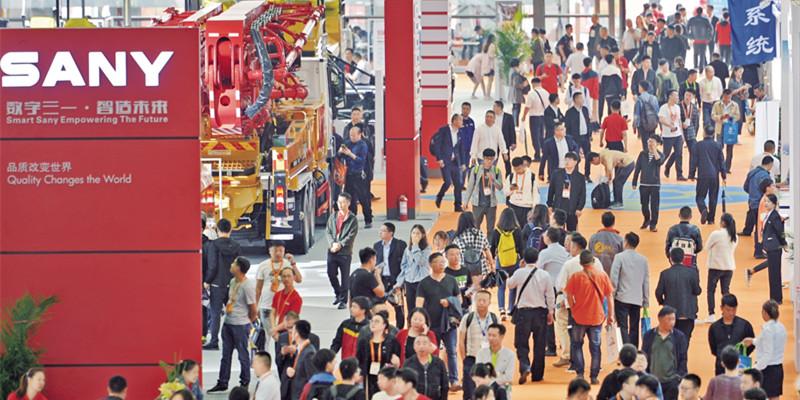 2019长沙国际工程机械展览会现场人头攒动