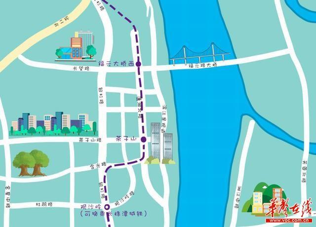 【手绘长沙地铁4号线路图】地铁+公交换乘指南