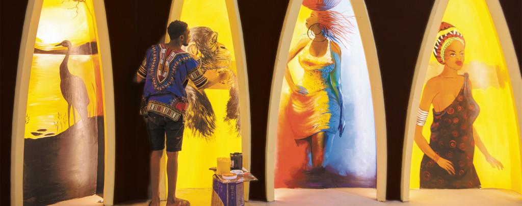 展销馆里的非洲画师