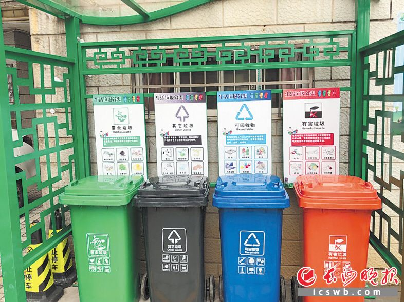 岳麓区航空母舰小区的垃圾分类定点投放站,摆放着4个差别颜色的垃圾桶,划分存放差别的垃圾。长沙晚报通讯员 彭毓妍 摄