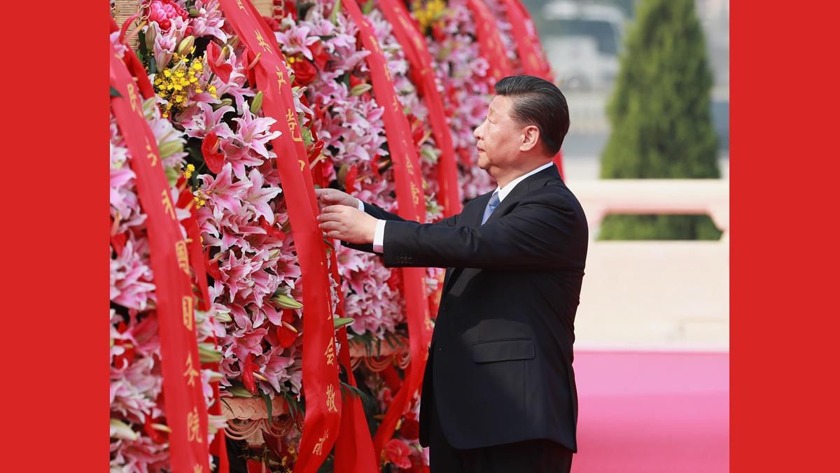 习近平等党和国家领导人出席烈士纪念日向人民英雄敬献花篮仪式
