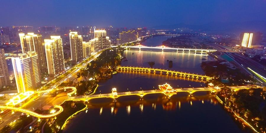 """漳州市区""""一江两岸四桥""""夜景"""