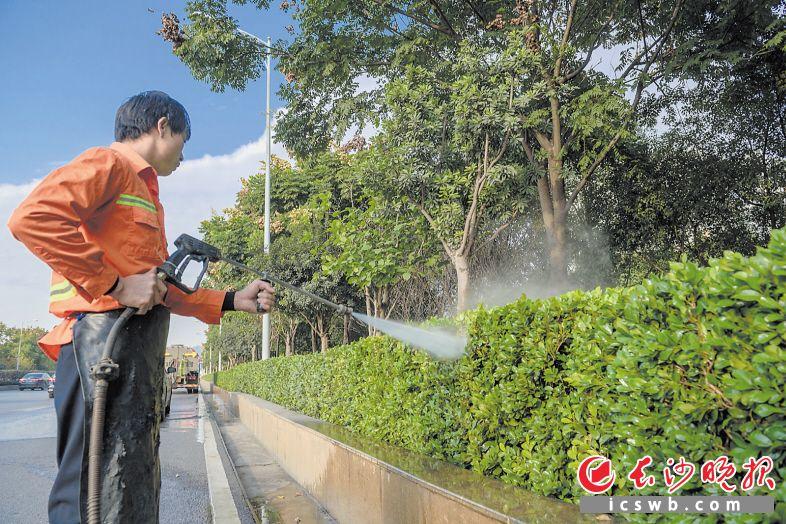 西二环上,环卫工人对绿化带进行精细化冲洗。长沙晚报全媒体记者 陈飞 摄