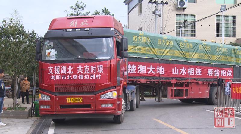 浏阳北盛镇边洲村党员群众为湖北捐赠51吨爱心物资