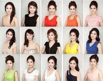韩国小姐佳丽集体撞脸