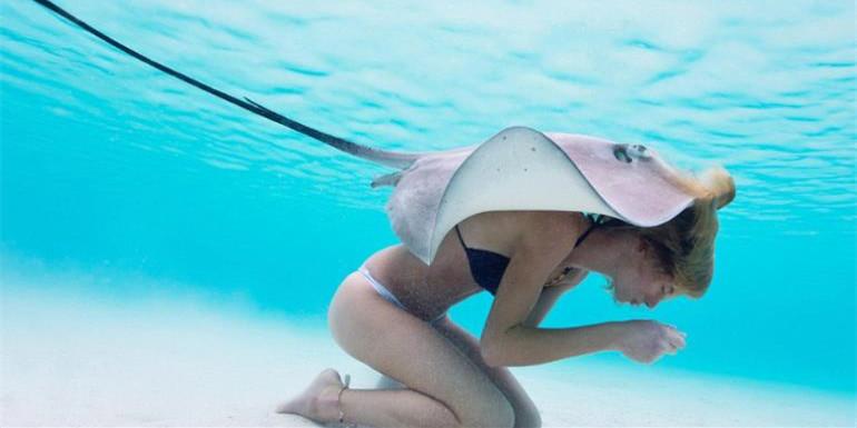 比基尼美女与致命黄貂鱼亲密共泳