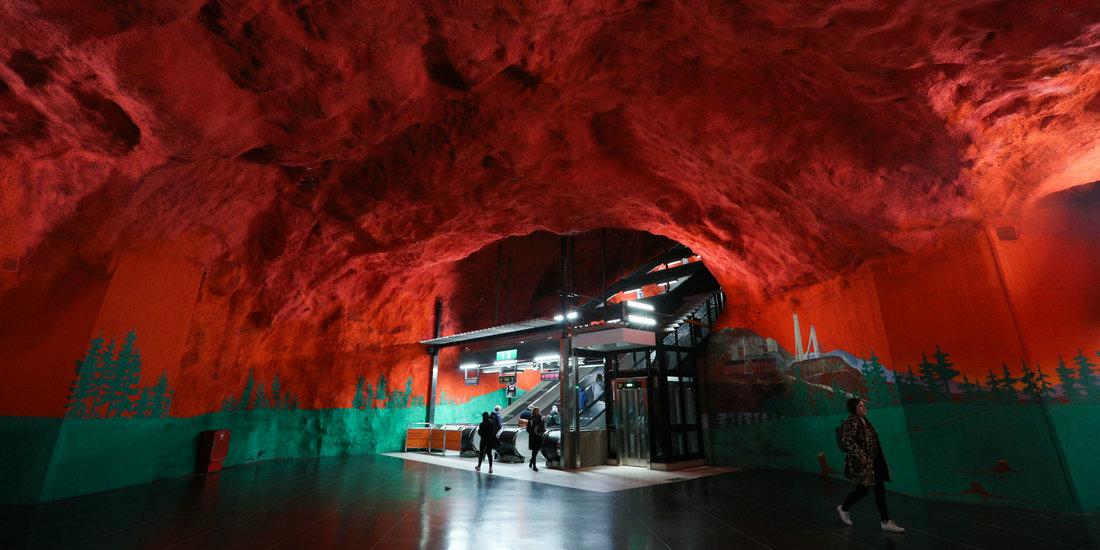 """走进""""地下艺术长廊""""——瑞典斯德哥尔摩地铁"""