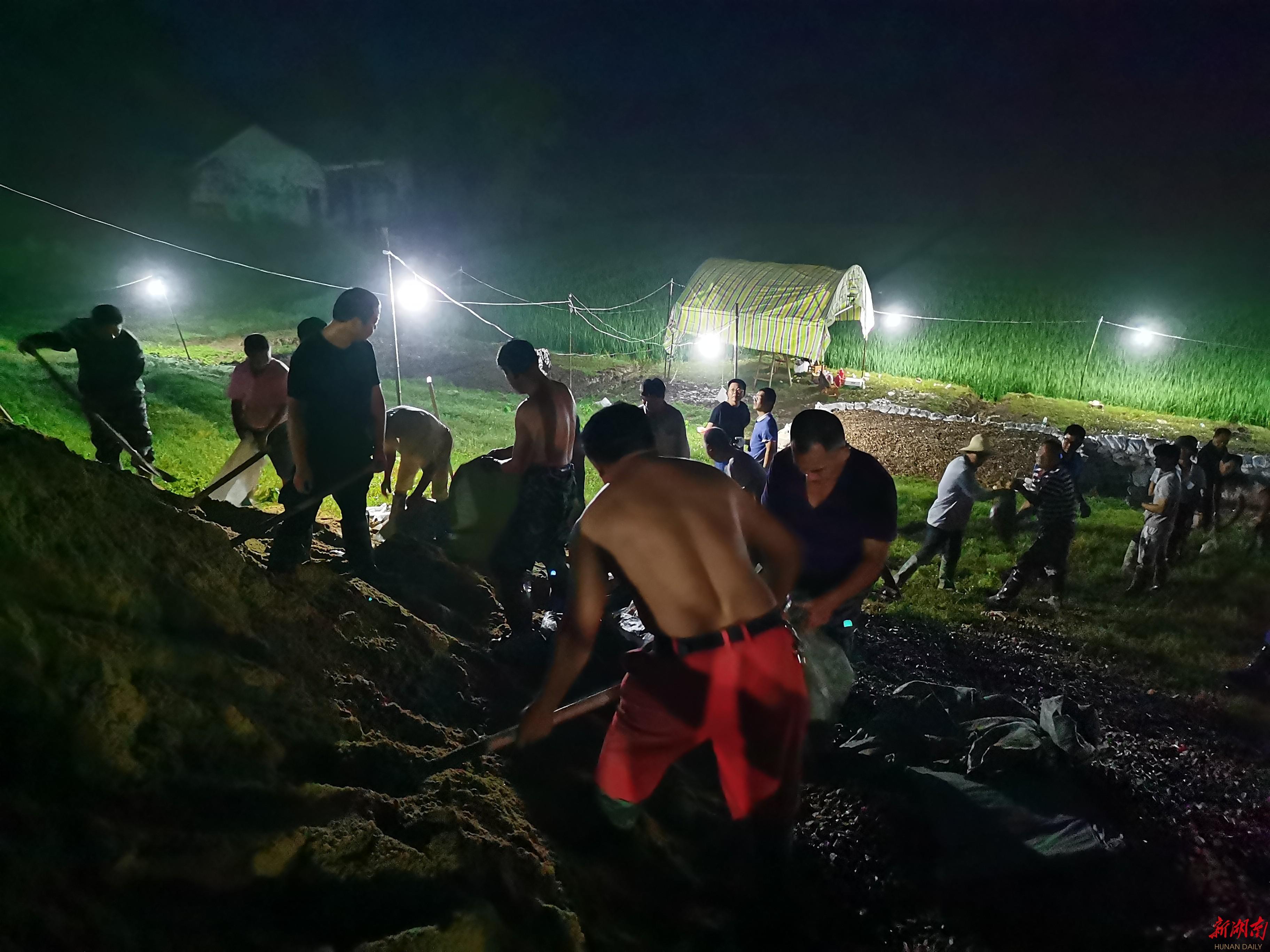 抢险战斗,午夜在梅田湖打响
